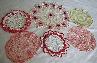 6 Vintage Hand Crocheted Doilies Red  Pink Green White Flower