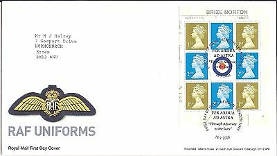2008 GB RAF Uniforms Brize Norton Booklet Pane FDC - Hendon London NW9 postmark