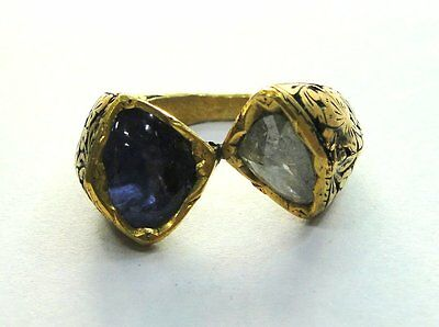 Vintage antique Solid 20K Gold Jewelry Diamond Blue Sapphire Gemstones Ring