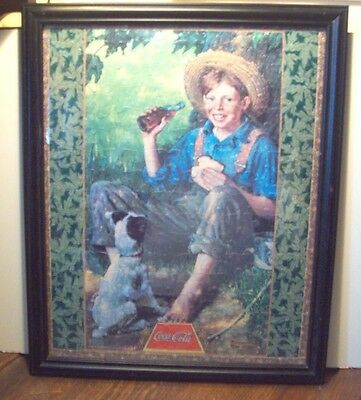 "Gorgeous Norman Rockwell Coca-Cola Huge 22"" X 18"" ""boy With Dog"" Framed Puzzle"