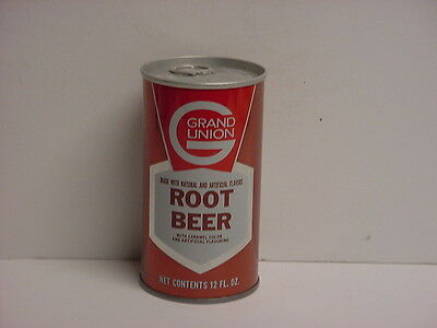 Vintage Grand Union Root Beer Straight Steel Pull Tab Soda Can Bottom Opened