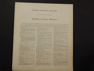 Missouri Audrain County Map Patron's reference Directory 1918  K11#21
