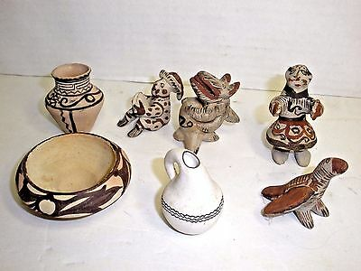 Vintage Mexican American Indian Pottery Collection Hand Painted Folk Art