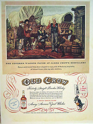 Vintage 1940's Advertising Sign OLD CROW BOURBON WHISKEY COVERED WAGON DELIVERY
