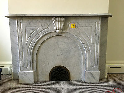 Ornate Antique Marble Fireplace Mantel 69 Inches ~ Architectural Salvage