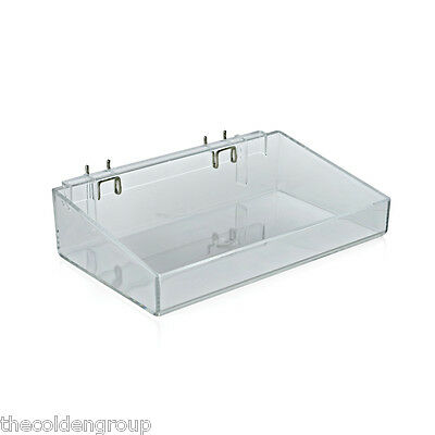 """2 Clear Acrylic Open Trays (12"""" W x 7"""" D x 3""""H) For Pegboard or Slatwall"""