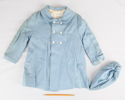 Vintage Toddler Little Boy Blue Jacket & Cap 1940s/50s w Beanie Pearl Buttons 2T