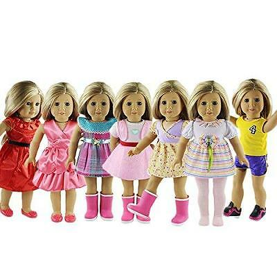 ZWSISU 18-Inch 7 Outfits American Girl Doll  Accessories Set New