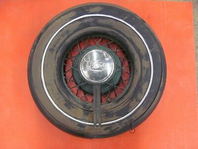 Original 34 35 Ford Spare Tire Carrier w/ Wheel NON DOT Tire HOT STREET RAT ROD