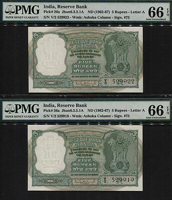 TT PK 36a 1962 INDIA 5 RUPEES SET OF 2 NOTES SEQUENTIALLY NUMBERED PMG 66 EPQ