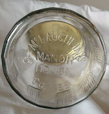 Vintage McLaughlin's  Manor House Coffee Clear embossed bottom Glass Jar w Lid