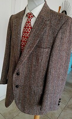 Vtg Clipper Craft Harris Tweed Brown Wool Jacket 42 S Leather Knot Buttons Sharp