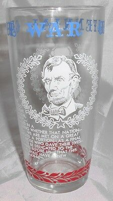 Vintage Drinking Glass depicting Civil War- Lincoln Robert E. Lee
