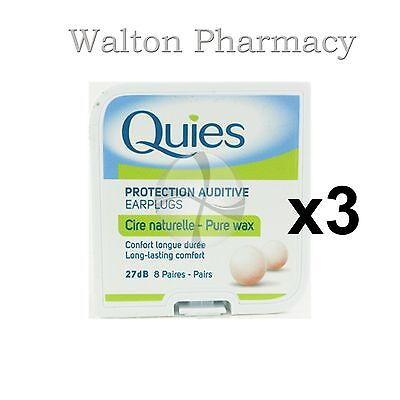 Quies Pure Natural Wax Ear Plugs Earplugs Protection noise reduction 8 pairs x 3