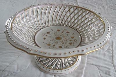 """Gold and White Porcelain Reticulated Pierced 9"""" Footed Compote"""