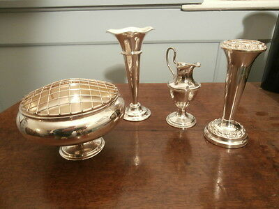 Silver plate Rose Bowl with 3 x silver plate Bud Vases