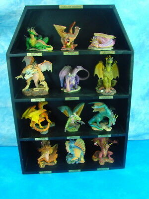 Complete Set of 12 Danbury Mint Fabulous Dragons w/ Black Wooden Display Case