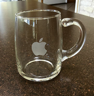Authentic VTG Apple Computer Clear Glass Coffee Cup Mug Grey Apple Logo 16 oz