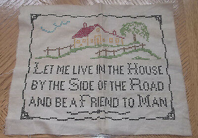 ANTIQUE SAMPLER Needlework Embroidery HOUSE & FRIEND TO MAN Cross-stitch color