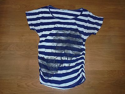 Robin's Nest Maternity blue & white striped shirt with runching size S
