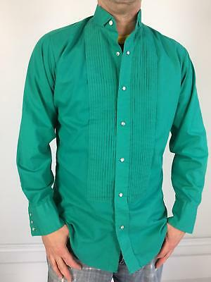 vtg Ely WESTERN PEARL SNAP TUXEDO SHIRT teal green M pleated tux