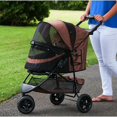 Special Edition No-Zip Pet Dog Stroller - Chocolate