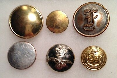 6 British Military Buttons, Revolutionary War thru WWII? Most Have London Marks