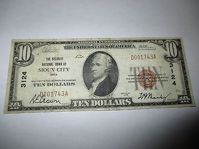$10 1929 Sioux City Iowa IA National Currency Bank Note Bill! Ch. #3124 VF