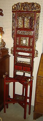 Antique Chinese Carved Wood Gold Gilded Lacquered Altar Cabinet Superb.