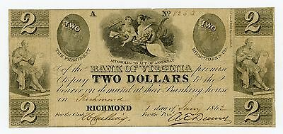 1862 $2 The Bank of VIRGINIA Note - CIVIL WAR Era