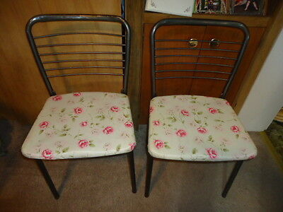Pair of Vintage Cosco Mid Century Modern Metal Folding Gatefold Chairs Floral