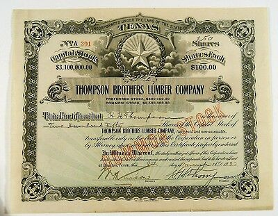 1923 Thompson Brothers Lumber Company Texas Stock Certificate