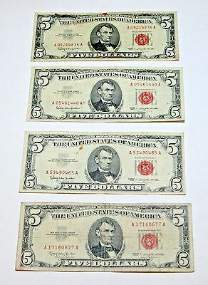 Lot of 4  $5.00 red seal United States Note Series 1963  Friedberg 1536