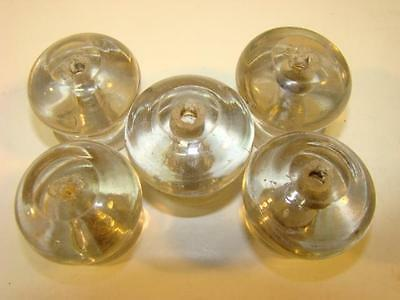 5 Large Hand Blown Glass Knobs Drawer Pulls 1 3/4""