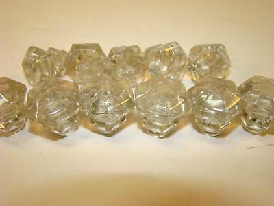 Set of 11 Small Vintage Glass Knobs Hardwareless Screw Back