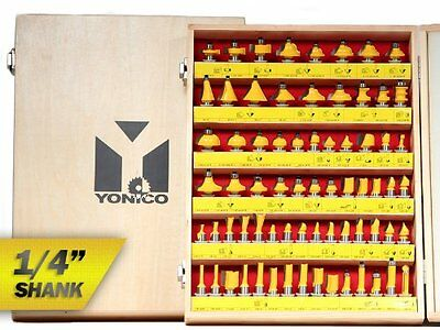 Yonico 17702q 70 Bits Professional Quality Router Bit Set Carbide 1/4-Inch Shank