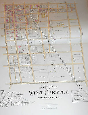 EAST WARD of WEST CHESTER CHESTER COUNTY 1883 LARGE COLOR MAP MATLACK /LACEY St.