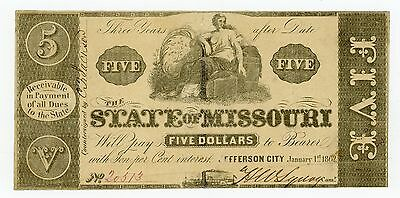 1862 $5 The State of MISSOURI Note - CIVIL WAR Era