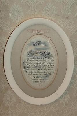 VINTAGE ANTIQUE OVAL METAL FRAME MOTHER POEM PRINT MATTED w/ RIBBON TRIM ~VGC NR