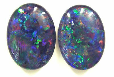 18x13mm Loose Stones Pair Of Natural Black Triplet Opal Stones For Earring #7