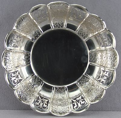 "Old Cut Work Rim With Repousse Panels 10.5"" Bowl Marked Only ""silver"" Origins?"