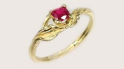 19thC Antique 1/3ct (A+) Ruby Ancient Asian Warrior Invulnerable Invincible 14kt