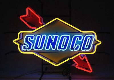 """New SUNOCO Racing Fuel Motorcycle Gas Oil Pump Station Neon Sign 24""""x20"""""""