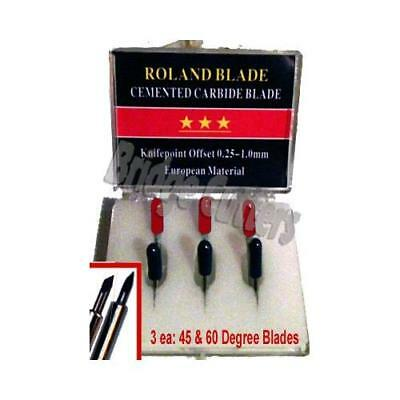 6-Pack Roland Combo Replacement Carbide Blade Set 45 + 60 degree, Roland Canon