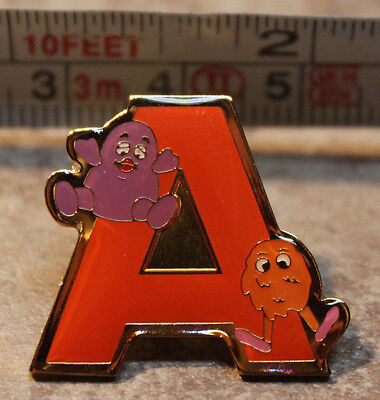 McDonalds Grimace Fry Guy Letter A Alphabet Collectible Pinback Pin Button 2000