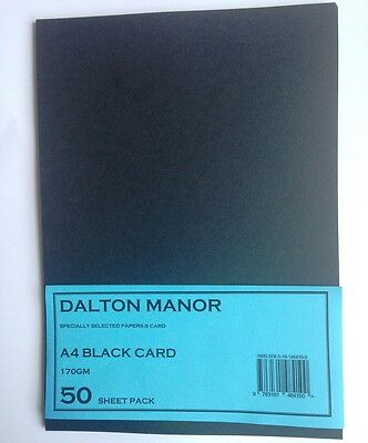 50 SHEET A4 CARD BLACK 170gm HIGH QUALITY ART CRAFT OFFICE COLLAGE USE