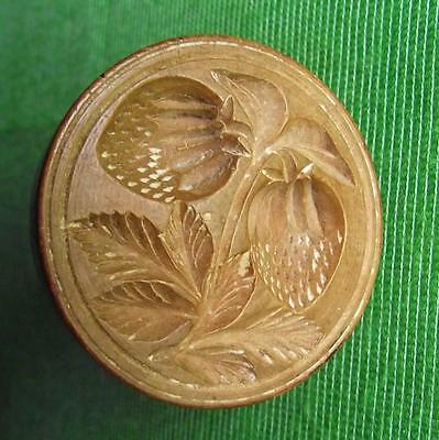 Lovely Old Scottish 18th Cent Wood Treen Carved Butter Stamp - Strawberry