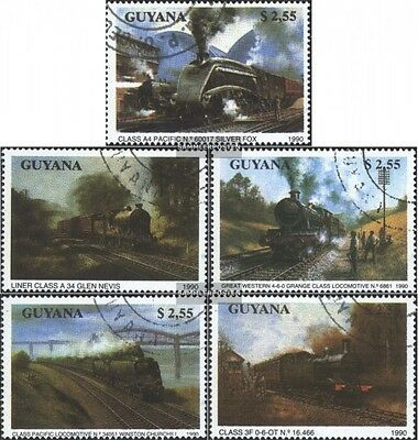 Guyana 3170-3174 (complete.issue.) fine used / cancelled 1990 Steam locomotives