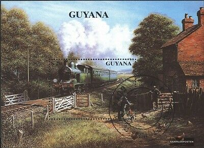 Guyana block93 (complete.issue.) fine used / cancelled 1990 Steam locomotives