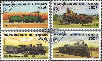 Chad 1074-1077 (complete.issue.) fine used / cancelled 1984 Locomotives